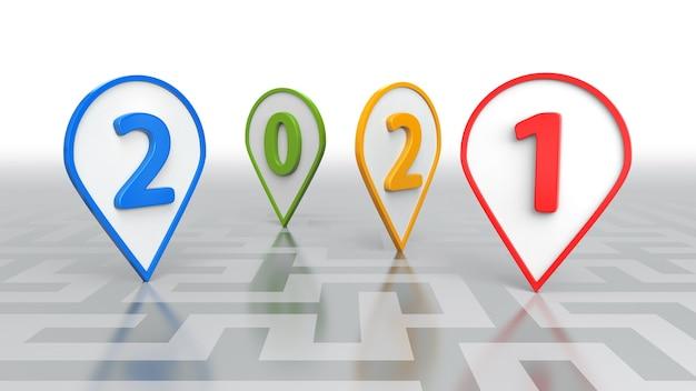 새해 개념, 여러 가지 빛깔의 2021 3d 렌더링