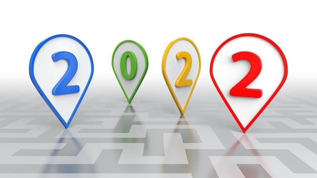 새해 개념, 여러 가지 빛깔의 2022. 3d 렌더링