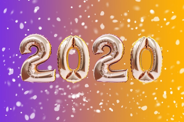 New year decoration 2020. inflatable gold numbers