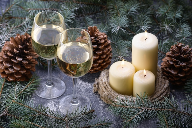New year decoration with wine glasses