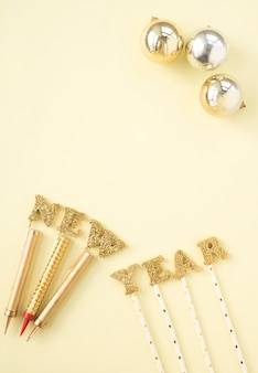 New year decorations lying in composition
