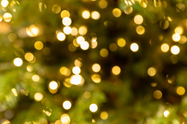 New year defocused background garland blurred golden lights sparkling on a christmas tree