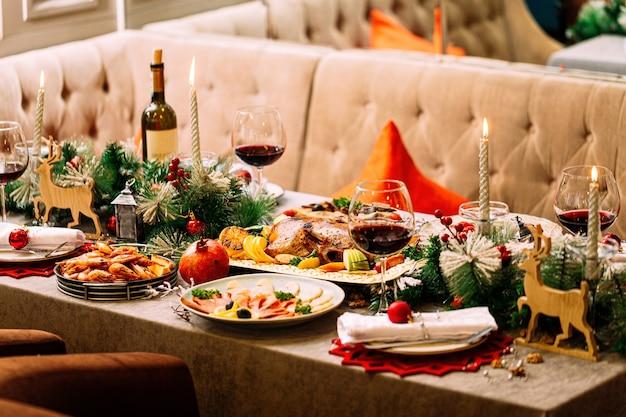 Новогодний праздничный сервированный стол с украшениями