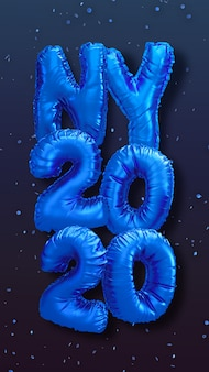 New year foil balloons 3d rendering illustration