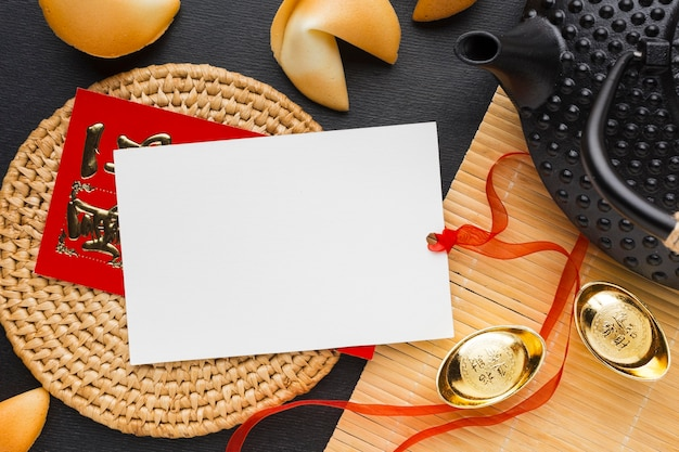 New year fortune cookies copy space card