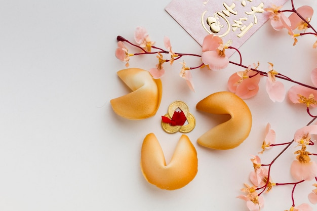 New year fortune cookies and flowers