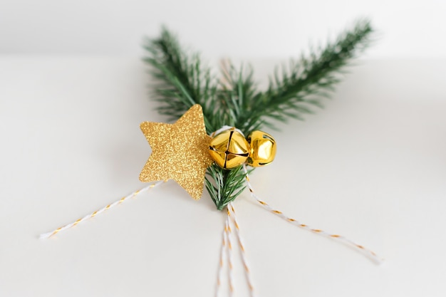 New year gift wrapping with gold decoration
