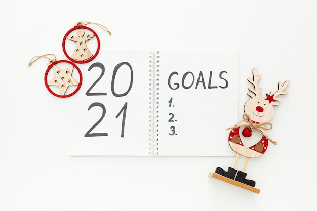 New year goals and plan with christmas decorations isolated