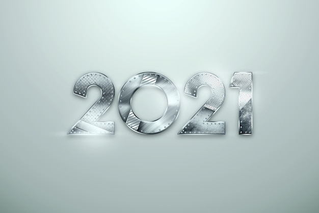 New year lettering 2021 with metal numbers on light background.