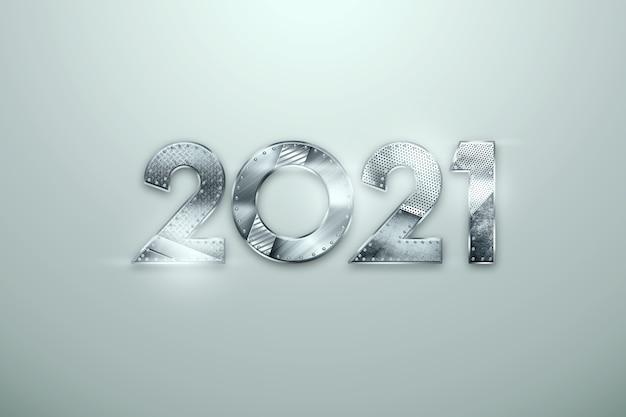 新年は明るい背景に金属の数字で2021をレタリングします。