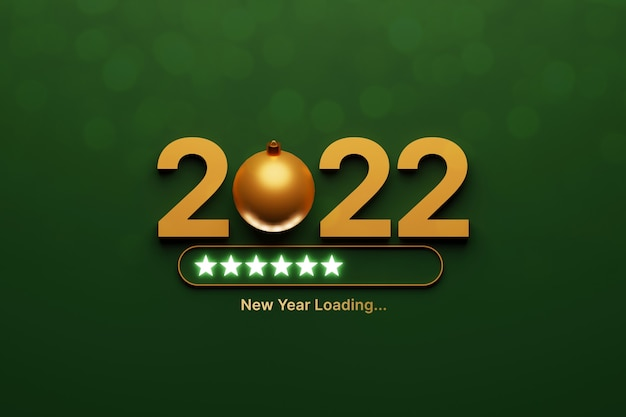 New year loading concept 2022 and christmas ball on luxury green background