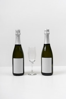 New year mock-up with champagne bottles