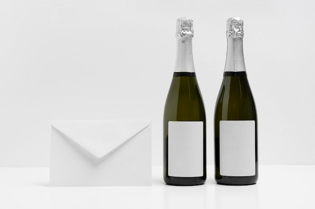 New year mock-up with envelope and bottles