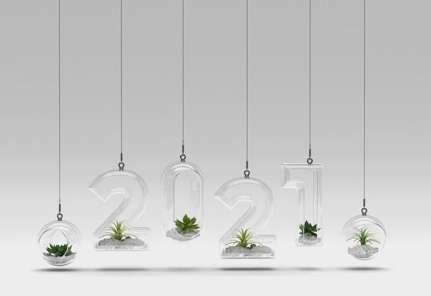 多肉植物と透明なガラスの新年の数
