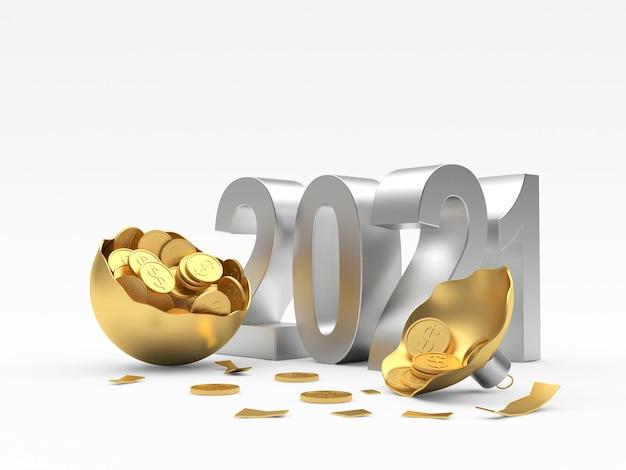 Новогодний номер со сломанным золотым елочным шаром, полным монет