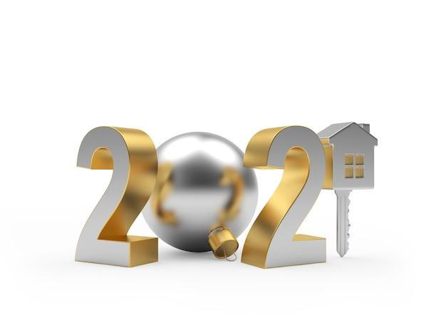 クリスマスの飾りと家と新年の番号