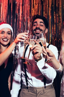 New year party concept with champagne glasses