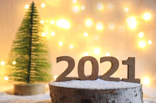 コピースペースとボケ味のある新年のポストカード Premium写真