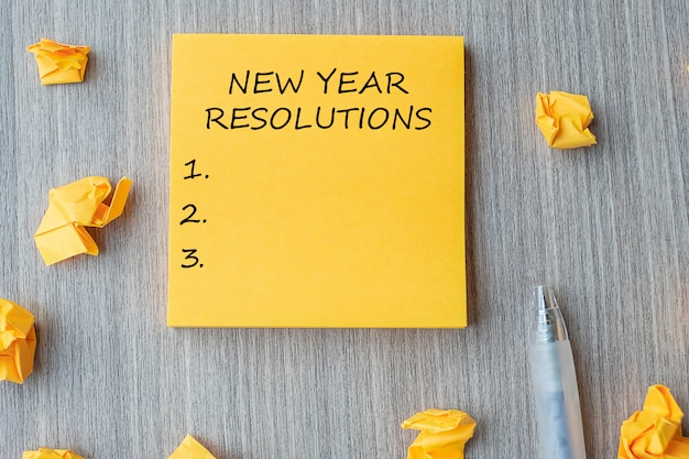 New year resolutions word on yellow note