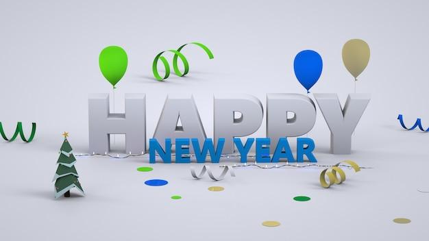 Новогодний трехмерный текст. с новым годом. выпуклые белые и синие буквы. крупный план. изолированные красочный текст с новым годом на белом фоне