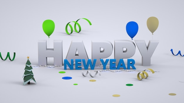 New year's 3d text. happy new year. convex white and blue letters. close-up. isolated colorful text happy new year on white background