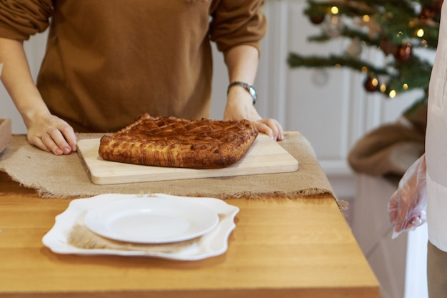 일반 배경 음식에서 새해, 크리스마스 요리 구성