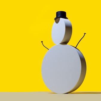 新年のコンセプト、丸い白い表彰台の雪だるまと明るい黄色の背景に帽子のシリンダー。