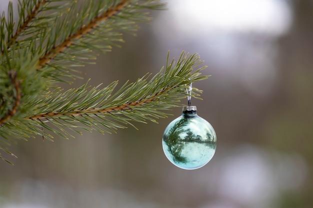 新年の飾りは、自然の中でクリスマスツリーに掛かっています。高品質の写真