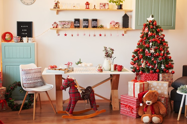 New year's decoration of the kitchen and living room