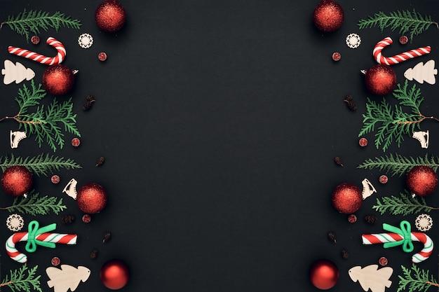 Новогодний, праздничный декор на черном фоне