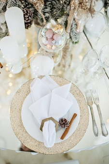 New year's festive glass table setting.