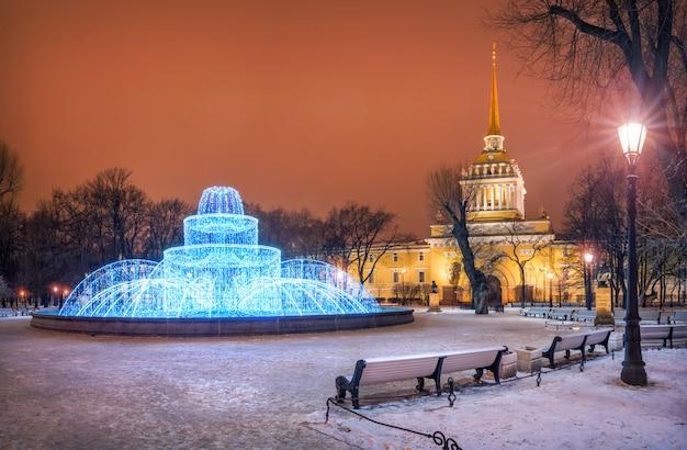 サンクトペテルブルク海軍本部の新年の噴水