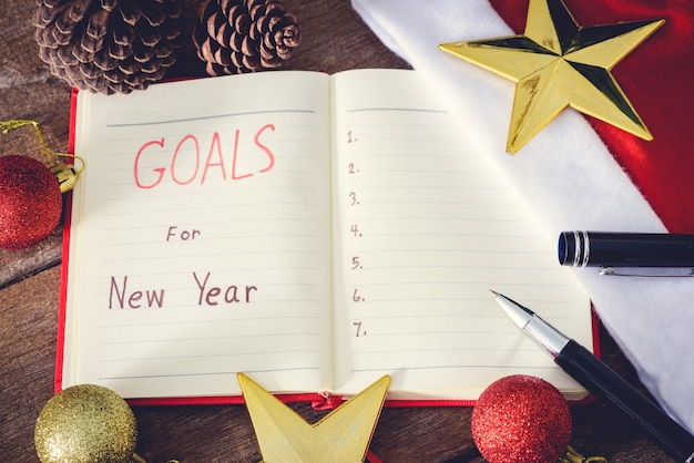 New year's goals with colorful decorations.