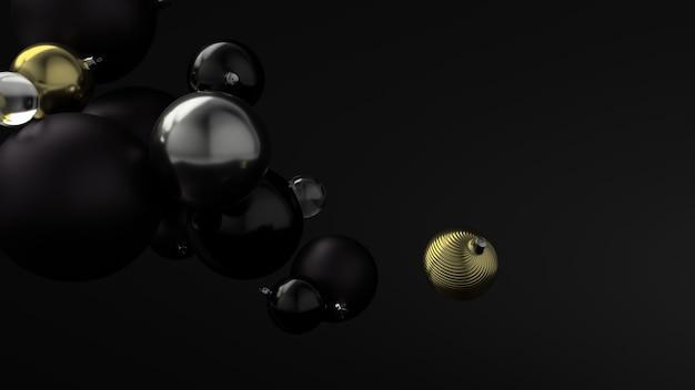 검은 공의 배경 위에 새 해의 황금 공. 3d 렌더링.
