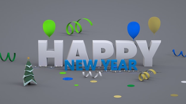 New year s graphic convex text happy new year. 3d graphics. white and blue. close-up. isolated colorful text happy new year on gray background