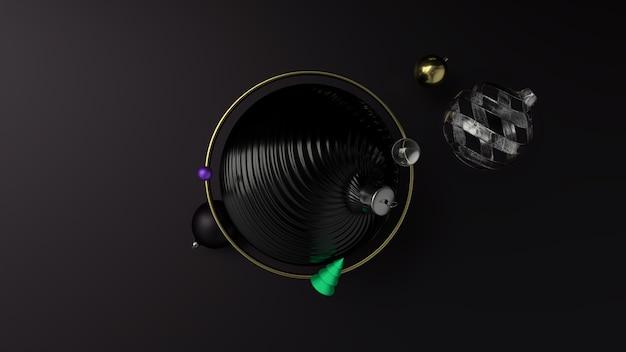 새 해 휴일 추상적 인 배경, 금색과 검은 색 크리스마스 풍선. 3d 렌더링
