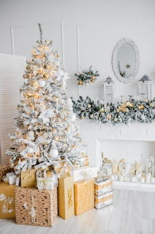 New year's interior with a fir tree in white tones