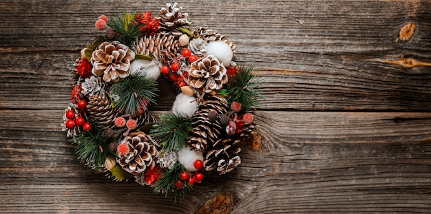 New year's wreath of spruce and  christmas gifts decorations