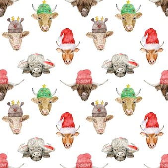New year seamless pattern with cute bull heads in santa clause's and knitted hats