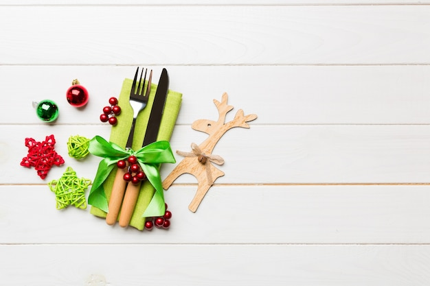 New year set of fork and knife on napkin