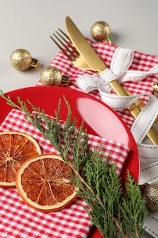New year table setting on light gray background.