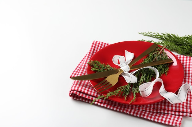 New year table setting on white background.