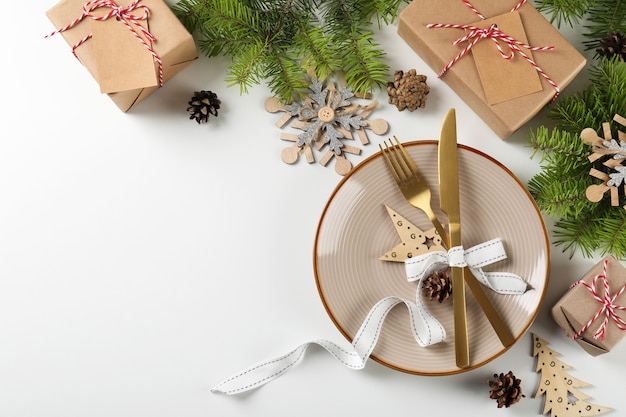 New year table setting on white ã¢â€â‹background.