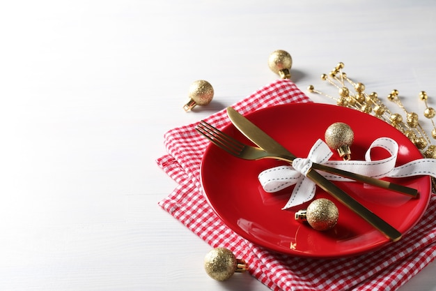 New year table setting on white wooden table.
