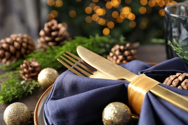 New year table setting with bokeh, close up.