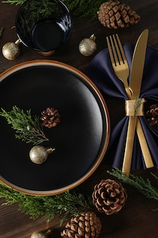 New year table setting on wooden background.