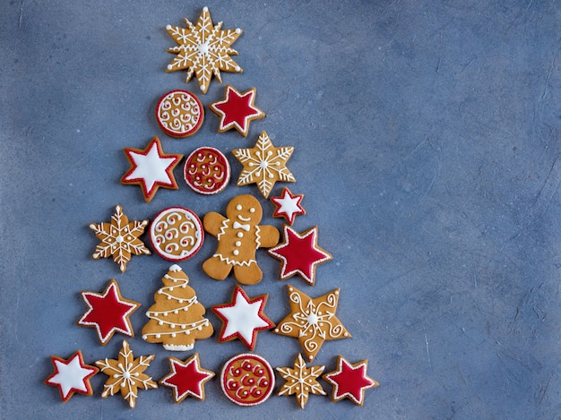 New year tree flat lay from gingerbread cookies.
