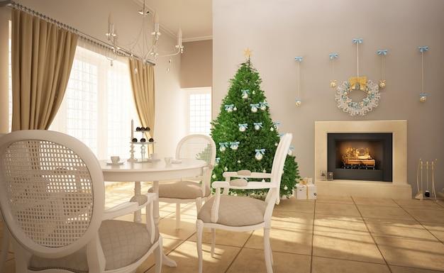 크리스마스 장식이 있는 스칸디나비아 스타일 인테리어의 새해 나무