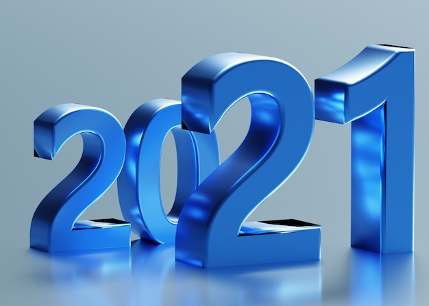 New year with blue numbers