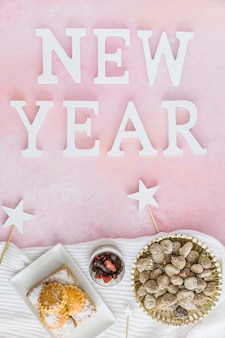 New year words and traditional sweets